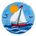 "buttinette Knüpf-Formteppich ""Segelboot"", Ø 50 cm"