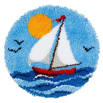 buttinette Knüpf-Formteppich 'Segelboot', Ø 50 cm