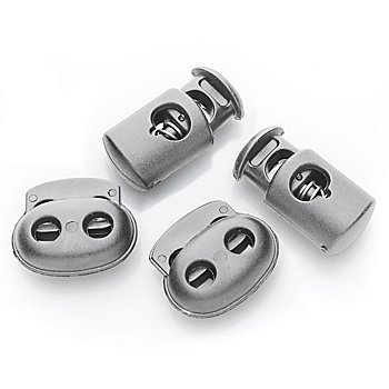 buttinette Kordelstopper-Set, grau, für Kordeln bis 5 mm Ø und 6 mm Ø, Inhalt: 4 Stück