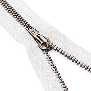 buttinette Reißverschluss mit Metallkrampe, weiß, teilbar