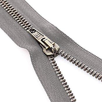 buttinette Reißverschluss mit Metallkrampe, grau, teilbar