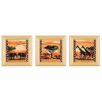 Tableaux à broder 'Afrique', 8 x 8 cm, set de 3 pièces