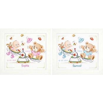 Tableau à broder 'bébé sur balance', 27 x 23 cm