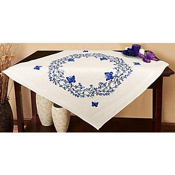 Stickmitteldecke 'Lavendel & Schmetterling'