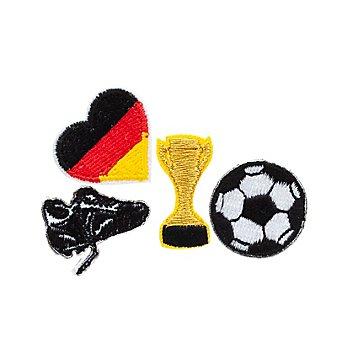 buttinette Applikationen 'Fußball', Größe: 1,5 - 2,0 cm, Inhalt: 4 Stück