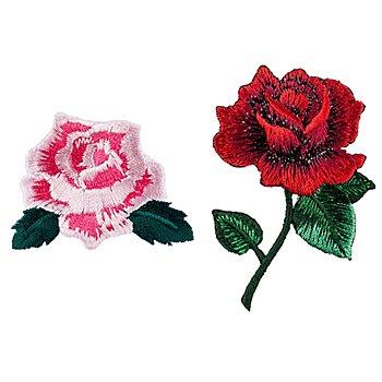 buttinette Motifs à coudre et à repasser 'rose', dim. : 3,7 - 6,5 cm, 2 pièces