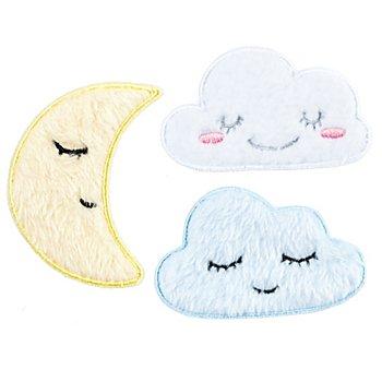buttinette Applikationen 'Wolken & Mond', Größe: 4 - 8 cm, 3 Stück