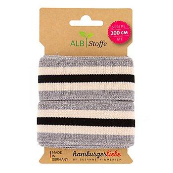 Albstoffe Bande bord-côte coton bio 'Stripe Me Glam', gris/écru/noir, 2 m