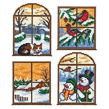 Stramin-Aufhänger 'Winterfenster', 4er-Set