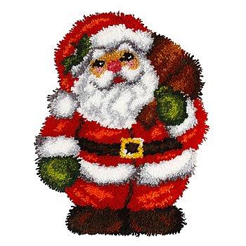 Tapis au point noué 'Père Noël', 35,5 x 47 cm