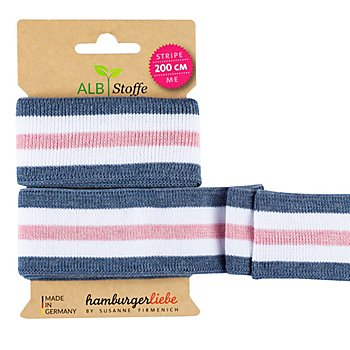 Albstoffe by buttinette Bio-Band 'Stripe Me College', jeans/weiß/rosa, 2 m
