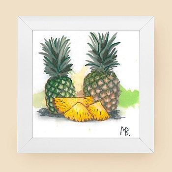 Tableau à broder 'ananas', avec cadre, 15 x 15 cm