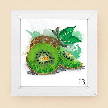 Tableau à broder 'kiwi', avec cadre, 15 x 15 cm