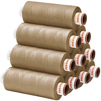 buttinette Universal-Nähgarn, Stärke: 100, 10er-Pack, beige