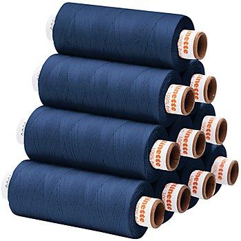 buttinette Universal-Nähgarn, Stärke: 100, 10er-Pack, jeans