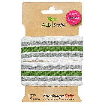 Albstoffe by buttinette Bande bord-côte en coton bio 'Stripe Me', blanc/gris/vert, 2 m