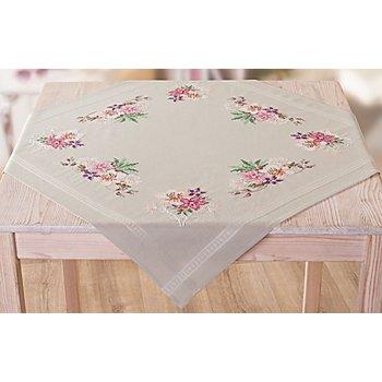 Stickmitteldecke 'Blütenpracht in rosé'