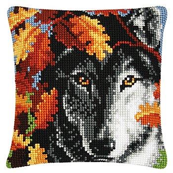 Kreuzstichkissen 'Wolf im Herbstwald'