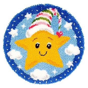 Knüpf-Formteppich 'Kleiner Stern', Ø 55 cm