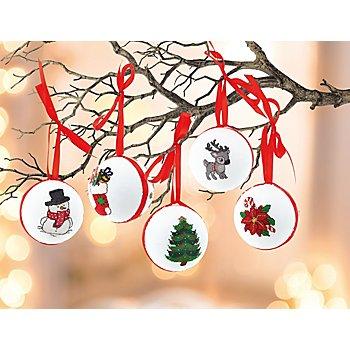 buttinette Stickpackung 'Weihnachtskugeln', 5er-Set