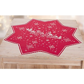 buttinette Nappe à broder en forme d'étoile 'village hivernal', rouge