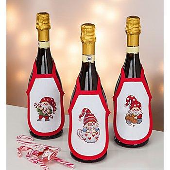 Tabliers de bouteille à broder 'lutins', set de 3 pièces