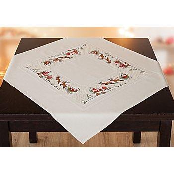 Stickmitteldecke 'Santa mit Schlitten'