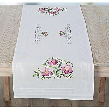 Chemin de table à broder 'fleurs roses'