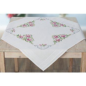 Stickmitteldecke 'Blüten in Rosa'