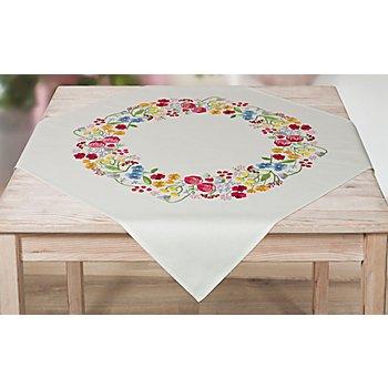 Stickmitteldecke 'Sommerblumen'