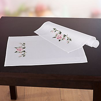 Sets de table à broder 'roses vintage', set de 2 pièces