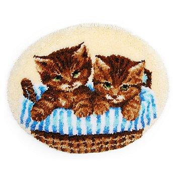 Tapis au point noué 'chats dans une corbeille', 69 x 56 cm