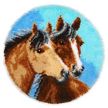 buttinette Tapis au point noué 'chevaux amoureux', 55 cm Ø