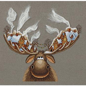 Stickbild 'Weihnachtselch' , 28 x 33 cm