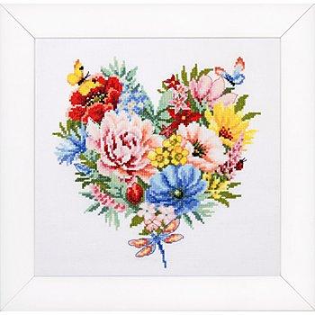 Stickbild 'Blütenherz', 25 x 25 cm