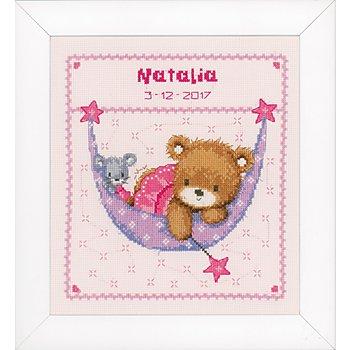 Stickbild 'Bärchen rosa', 21 x 24 cm