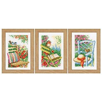 Tableaux à broder 'beau jardin', 8 x 12 cm, set de 3 pièces