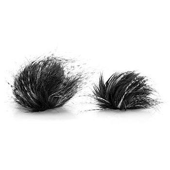 buttinette Fellimitat-Bommel, schwarz-weiss, 6 und 4 cm Ø