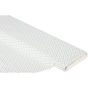 Tissu coton 'pois', blanc multicolore, 4 mm Ø