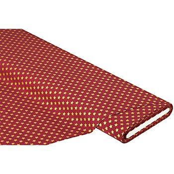 Baumwollstoff Sterne 'Mona', weinrot/gold, 9 mm Ø