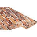 """Tissu coton à impression numérique """"mur de briques"""", tons oranges"""