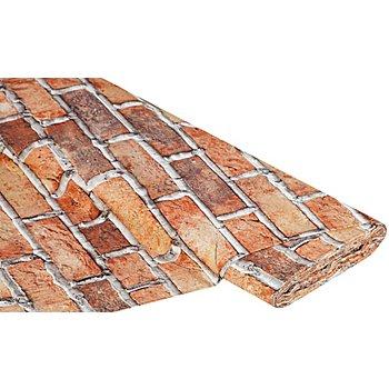 Tissu coton à impression numérique 'mur de briques', tons oranges