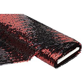 Paillettenstoff 'Goldregen', rot/schwarz