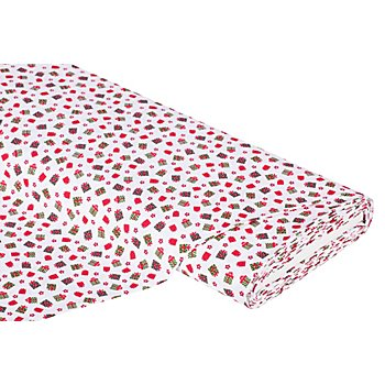 Tissu coton 'cadeaux', blanc multicolore