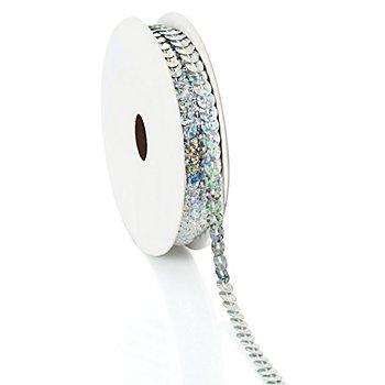Paillettenband 'Hologramm', silber, Breite: 6 mm, Länge: 3 m