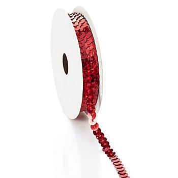 Paillettenband 'Hologramm', rot, Breite: 6 mm, Länge: 3 m