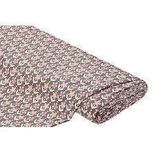 Tissu jersey en coton 'fleur rétro' avec de l'élasthanne, rose/gris
