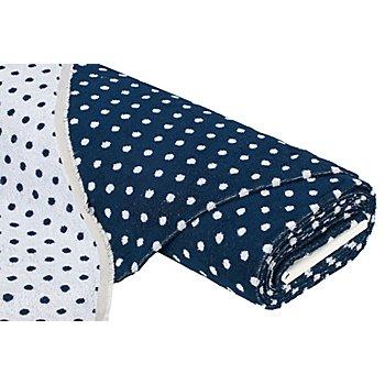 Tissu éponge jacquard à pois, bleu marine/blanc