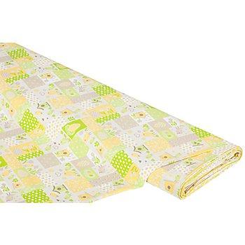 Baumwollstoff Vogel Patchwork 'Mona', grün/gelb