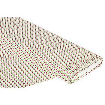 Baumwollstoff Herzchen 'Mona', weiß/pink/grün